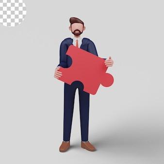 Ilustracja 3d. rozwiązywanie problemów. decyzja twórcza, trudne zadanie, myślenie lateralne