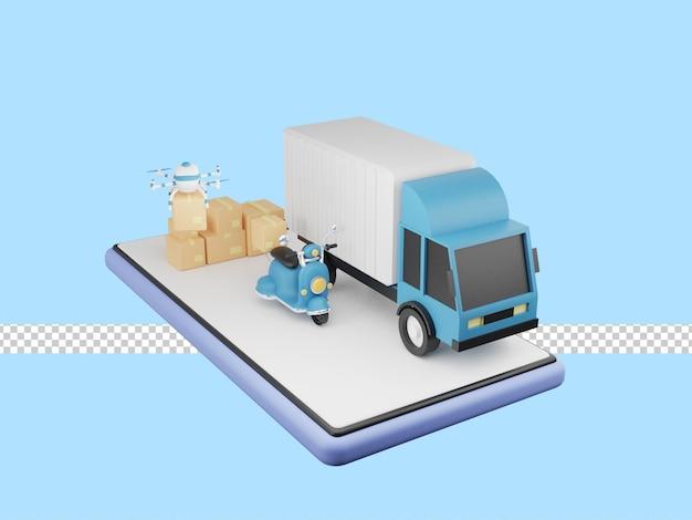 Ilustracja 3d usługi szybkiej dostawy ciężarówką, skuterem, dronem