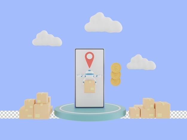 Ilustracja 3d usługi szybkiej dostawy przez drona