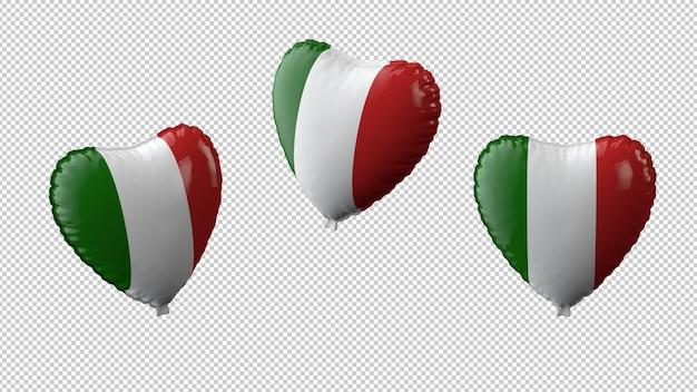 Ilustracja 3d. ustawić balony w kształcie serca z ścieżką przycinającą flagi włoch na białym tle