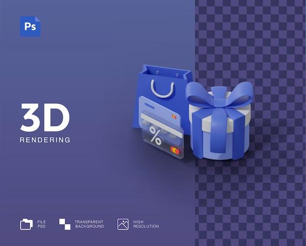 Ilustracja 3d, zakupy online, płatność kartą kredytową