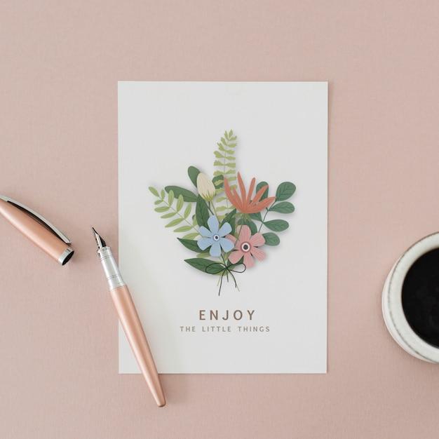 Ilustracja bukiet kwiatów z piórem