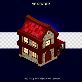 Ilustracja domu z widokiem izometrycznym i przezroczystym tłem w projekcie 3d