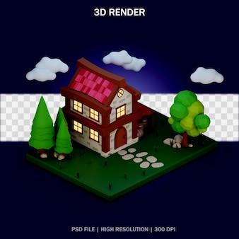 Ilustracja domu ze środowiskiem i przezroczystym tłem w projekcie 3d