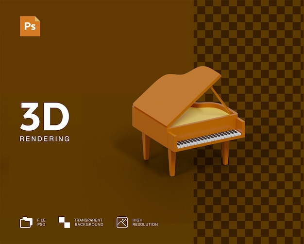 Ilustracja fortepianu 3d