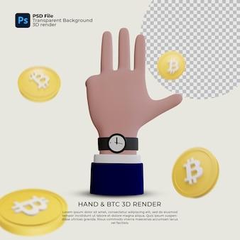 Ilustracja gestów ręki i renderowanie 3d bitcoin