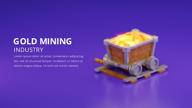 Ilustracja górnictwa złota, renderowanie 3d
