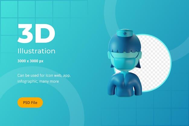 Ilustracja ikony 3d, opieka zdrowotna, pielęgniarka, dla sieci, aplikacji, infografiki