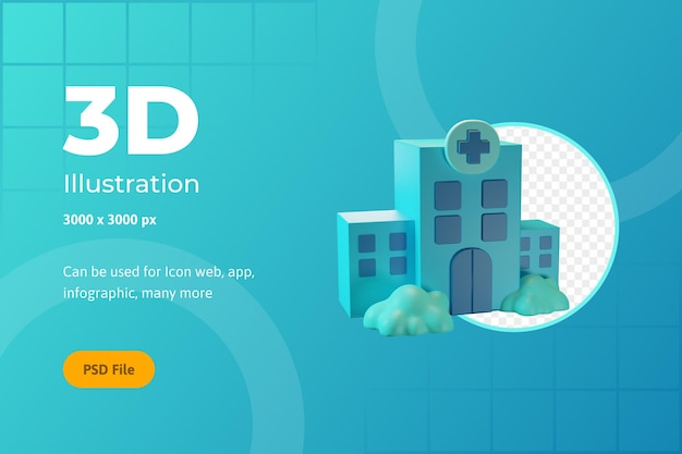 Ilustracja ikony 3d, opieka zdrowotna, szpital, dla sieci, aplikacji, infografiki