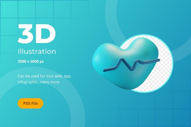 Ilustracja ikony 3d, opieka zdrowotna, tętno, dla sieci, aplikacji, infografiki