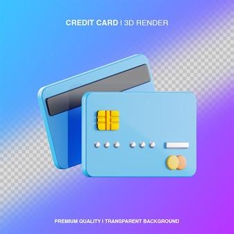 Ilustracja karty kredytowej 3d na białym tle