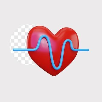 Ilustracja koncepcja kardiogramu 3d