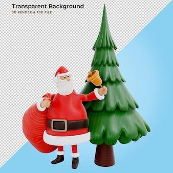 Ilustracja koncepcja renderowania 3d przedstawiająca postać świętego mikołaja niosącego gigantyczną czerwoną torbę stojącą na sośnie z wieloma pudełkami prezentowymi