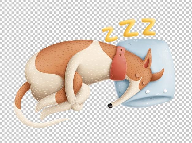 Ilustracja ładny pies śpi