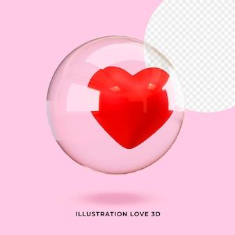 Ilustracja miłość 3d w szkle