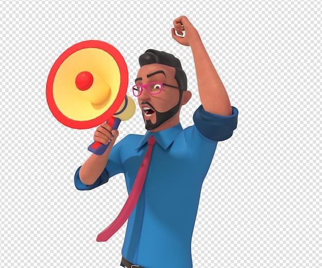 Ilustracja na białym tle postać biznesmen maskotka kreskówka