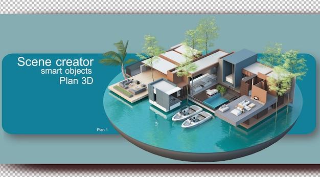 Ilustracja planu wnętrza i architektury