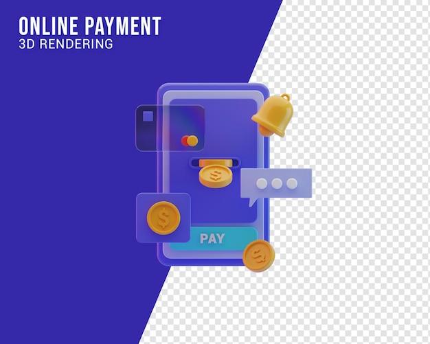 Ilustracja płatności online 3d