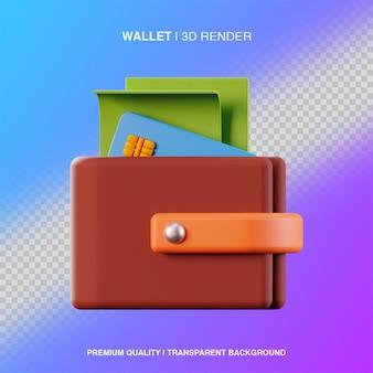 Ilustracja portfela 3d na białym tle