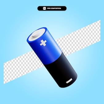 Ilustracja renderowania 3d baterii na białym tle