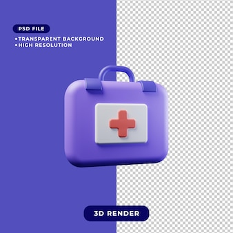 Ilustracja renderowania 3d ikony zestawu medycznego