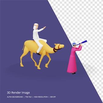 Ilustracja renderowania 3d koncepcji islamskiej