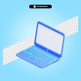 Ilustracja renderowania 3d laptopa na białym tle