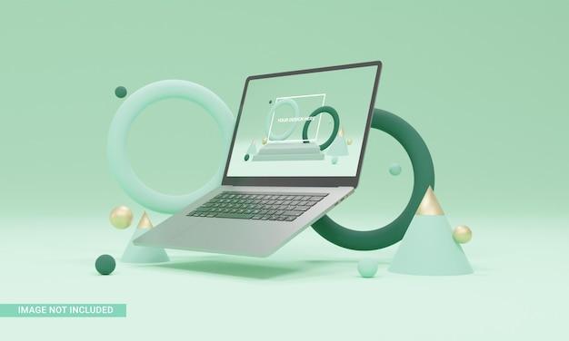 Ilustracja renderowania 3d zielone tło kształty makieta laptopa izometryczna
