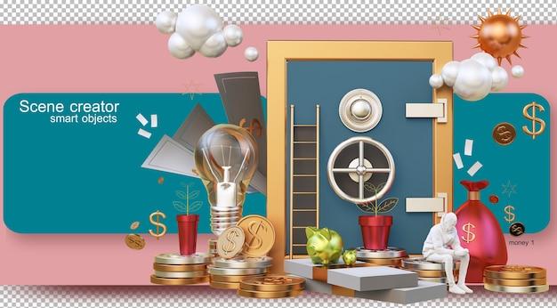 Ilustracja renderowania 3d żyjących z koncepcją pieniędzy i ekonomii