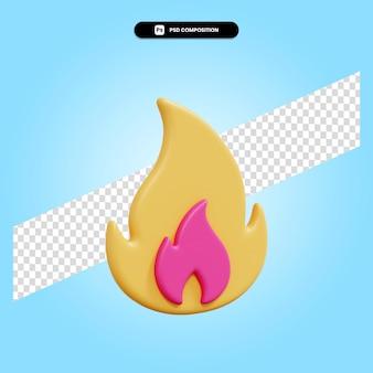 Ilustracja renderowania ognia 3d na białym tle