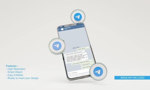 Ilustracja telegramu renderowania 3d makieta telefonu komórkowego