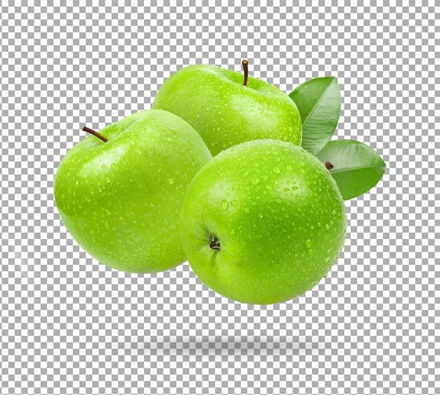 Ilustracja zielone jabłko na białym tle