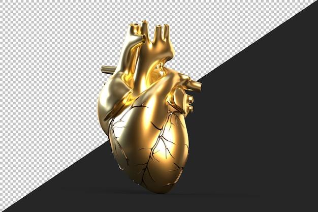 Ilustracja Złote Ludzkie Serce Premium Psd