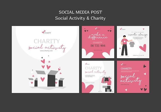 Ilustrowane posty o aktywności społecznej i charytatywne posty na instagramie