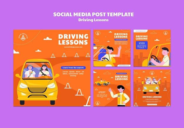 Ilustrowane posty w mediach społecznościowych szkoły jazdy