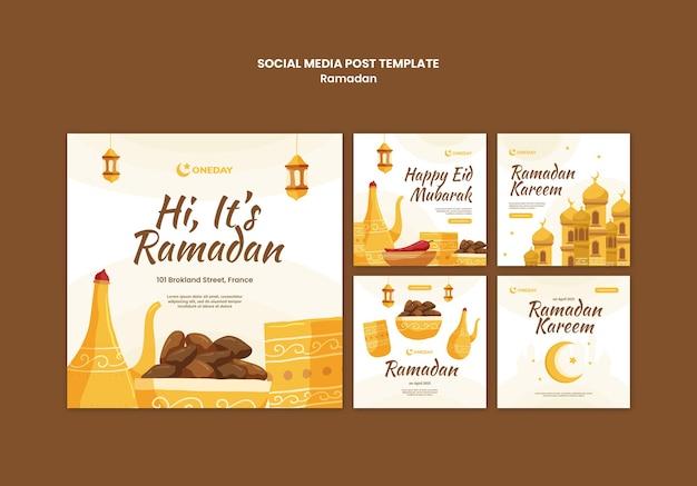 Ilustrowane posty w mediach społecznościowych z ramadanu