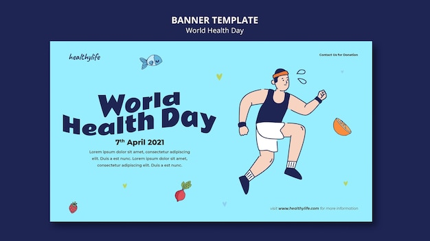 Ilustrowany baner światowego dnia zdrowia