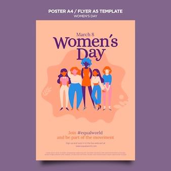 Ilustrowany piękny szablon ulotki dzień kobiet