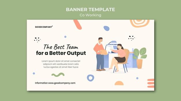 Ilustrowany szablon banera coworkingowego