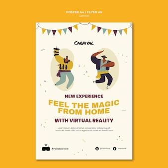 Ilustrowany szablon plakatu karnawałowego