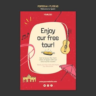 Ilustrowany szablon plakatu kultury hiszpanii