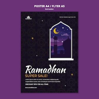 Ilustrowany szablon plakatu ramadan