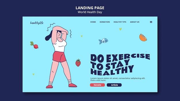 Ilustrowany szablon sieciowy światowego dnia zdrowia