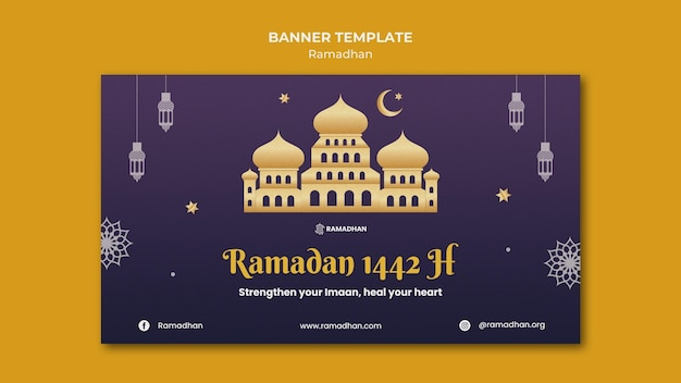 Ilustrowany szablon transparent ramadan kareem
