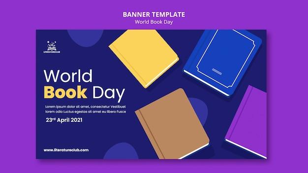 Ilustrowany szablon transparent światowego dnia książki