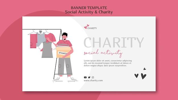 Ilustrowany szablon transparentu aktywności społecznej i charytatywnej