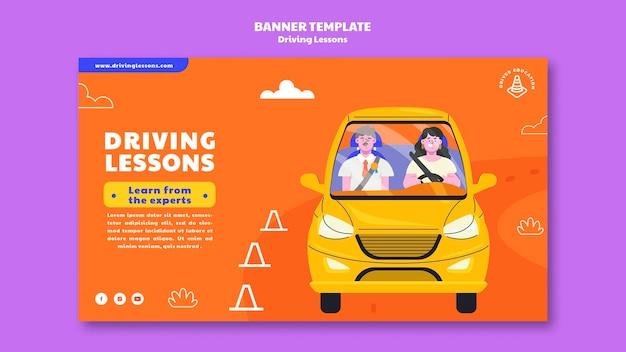 Ilustrowany szablon transparentu szkoły jazdy