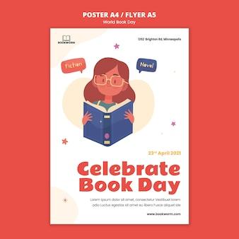 Ilustrowany szablon wydruku światowego dnia książki