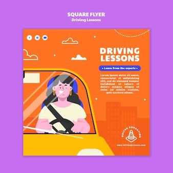 Ilustrowany szablon wydruku szkoły jazdy