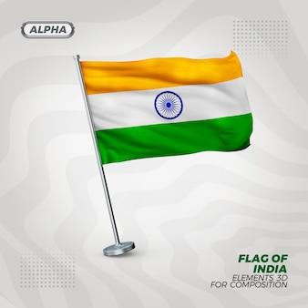 Indie realistyczne 3d teksturowanej flagi